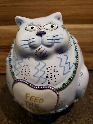 FEED THE KITTY Fitz & Floyd Piggy Bank Cash Critters.very detailed (EUC)