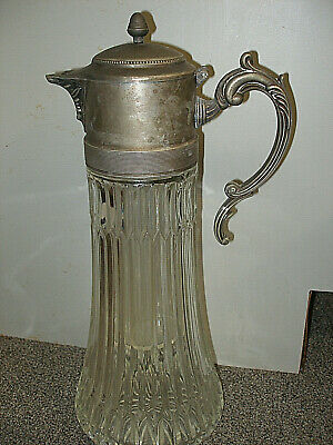 "Antique Pressed Glass & Pewter Iced Wine Claret Carafe Pitcher 14""  Art Nouveau"