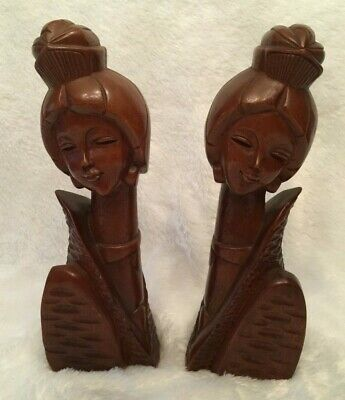 Vintage Hand Carved Wooden Asian Oriental Figurines Bookends Mid-Century Modern