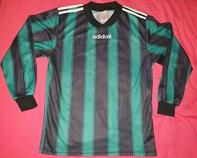 Adidas Long Sleeve Goalkeeper Striped T Shirt Tee Vtg Retro 80s 90s Green Black