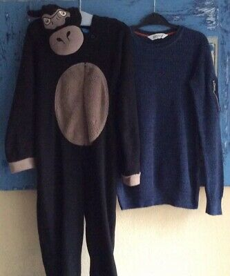 Gorilla All In One Sleep Suit H&M Knitted Blue Jumper 9-10 Years