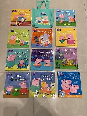 x 10x1SET LARGE PEPPA PIG STORY BOOKS LADYBIRD CHILDREN NON FICTION  + CARRY BAG