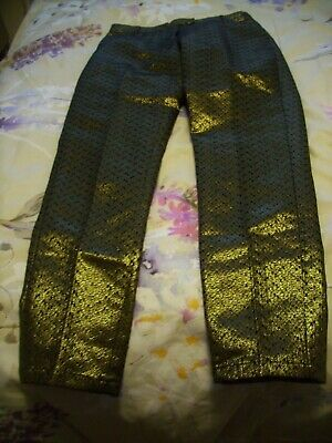 "Girls Age 11  ""  Next ""  Black / Gold Shimmer Trousers Nwt"