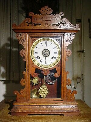 ANTIQUE RARE ANSONIA 1880's UNLISTED OAK 8 DAY PARLOR SHELF CLOCK WORKING WELL