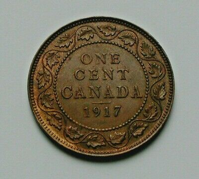 1917 CANADA George V Coin - Large Cent (1¢) - AU+ toned