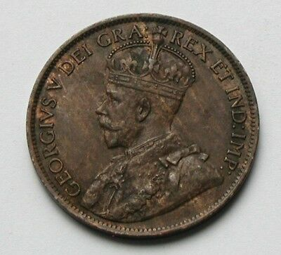 1919 CANADA George V Coin - Large Cent (1¢) - AU+ with uneven toning
