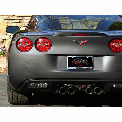 Tribal Skull Tail Light Covers for 05-13 Chevy Corvette C6 [Stainless/Polished]