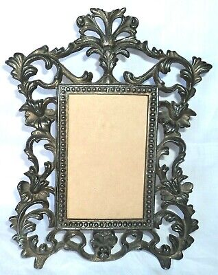 Antique Solid Bronze Table Desk Picture Photo Frame Tall 25 Cm 10 Inch 842 Grams