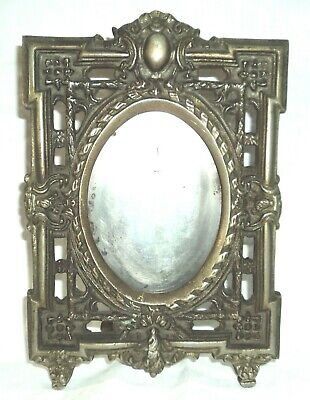 Antique Solid Bronze Table Desk Picture Photo Frame Tall 24 Cm 9½ Inch 964 Grams