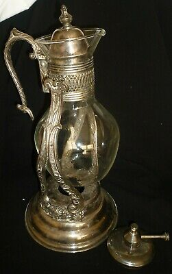 Vintage English Silver Usa Leonard Chaffing Carafe Pitcher Lattice Silverplate