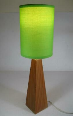 Retro vintage 1970s wooden table lamp c/w lime green fabric shade