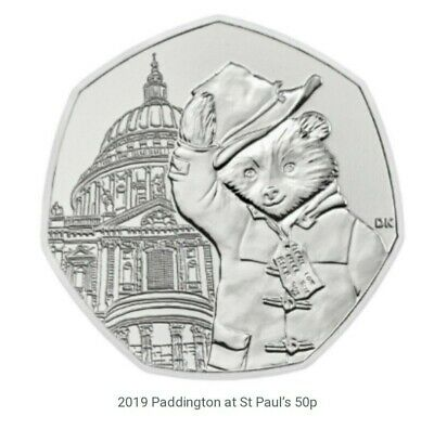 Paddington Bear At St Pauls Cathedral 50p Coin from Sealed Bag 2019 in wallet