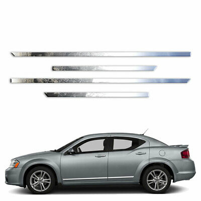 "fits 2008-2014 Dodge Avenger 4Pc Flat Body Side Molding Trim 1/""Stainless Steel"