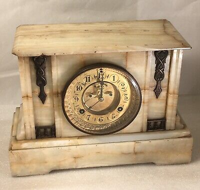 Antique Waterbury White Onyx Marble Mantel Clock Bronze Victorian - See VIDEO