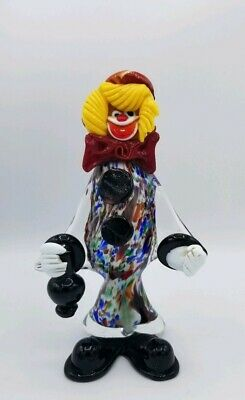 Vintage Murano Clown Venitian Italian Art Glass Figurine Multicolor *DAMAGED*