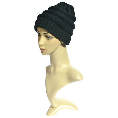 Winter Women Stretch Knit Hat With Messy Bun Ponytail Holey Warm Hats Caps