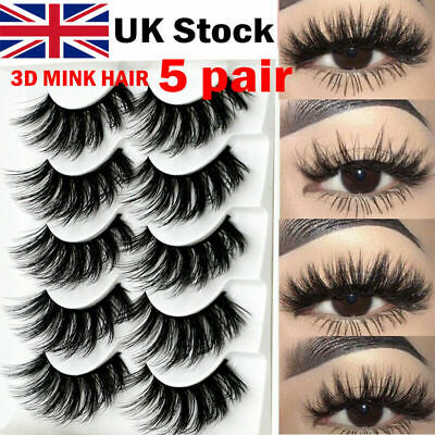 UK NEW 5Pair 3D Mink False Eyelashes Wispy Cross Long Thick Soft Fake Eye Lashes