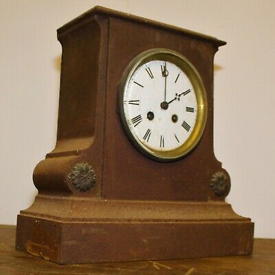 Japy Freres cast iron French mantle clock timepiece antique vintage old wall