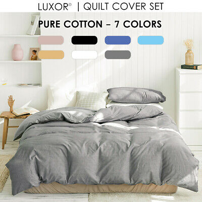 100% Cotton All Size 1000TC Bed Quilt Duvet Doona Cover Set  Bedding Pillowcase