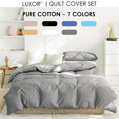 100% Cotton Percale All Size 1000TC Bed Quilt Duvet Doona Cover Set  Bedding