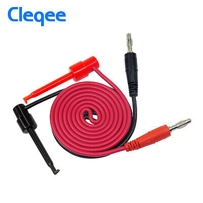 P1039 2PCS Test Hook Clip to Banana Plug Lead Cable For Multimeter Testing