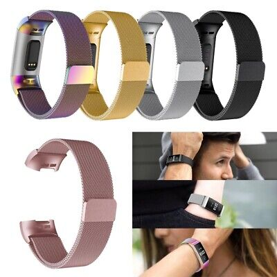For Fitbit Charge 3 Strap Replacement Milanese Band Stainless Steel Loop Magnet
