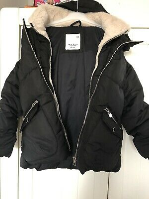 Girls ZARA Winter Warm Black Feather & Down Padded Coat, Age 8 Yrs