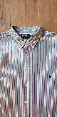 Vintage Ralph Lauren Men's Blue and Pink Striped Shirt - Size 3XB 19.5 Collar