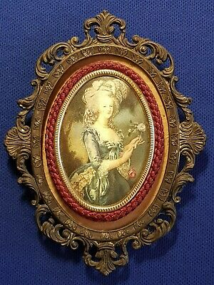 Vintage Ornate Brass Frame With Silk Picture Woman With Roses Made In Italy