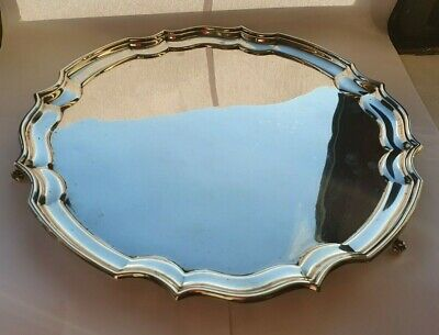 Large,Heavy Solid Sterling Silver Salver/Tray with Scrolled Feet -634grams
