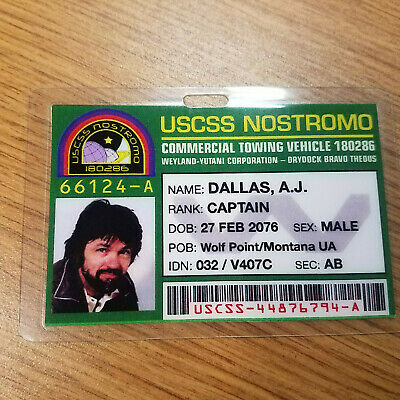 Aliens Id Badge-Uscss Nostromo Captain Dallas Requisite Kostüm Cosplay