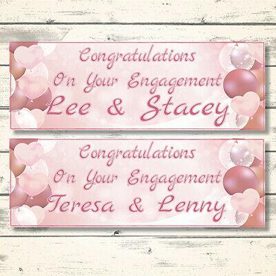2 Personalised Rose Gold Engagement Banners - Design 3 Pink Hearts (Any Names)