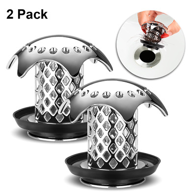 Chrome Drain Hair Catcher Protector Bathroom Sink Stopper 2 Pack 1.46'' to 1.79""