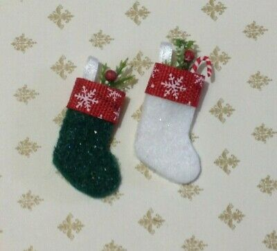 Miniature Dollhouse Christmas Stocking Set 2 Handmade 1:12 Scale by Cyndi