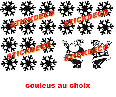 Flocon Neige  Pere Noël Stickers Autocollant Planche A4 Vynil