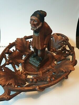 Finely Carved Antique German Black Forest Nutcracker And Bowl