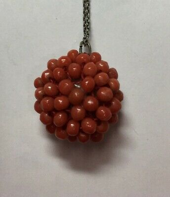 Fine Antique Victorian Sterling Silver Ox Blood Coral Beaded Spherical Pendant