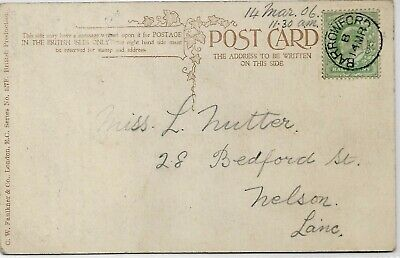 BARROWFORD CANCEL ON 1906 KING EDWARD VII ½d GREEN POSTCARD REF 2898