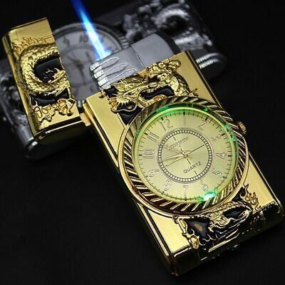 Gold Watch Jet Lighter Torch Turbo Gas Windproof Cigar Cigaret christmas gift