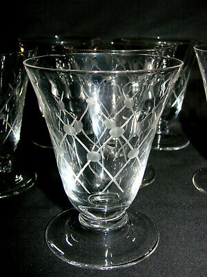 Ancien verre art deco x 8 - Eau Vin Raisin Vigne Alcool - Old glass (n°72)