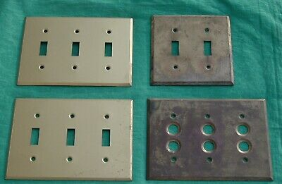 Lot of 4 Vintage Brass  Switch Plates  Button Cover / 2 & 3 Hole Light Switch