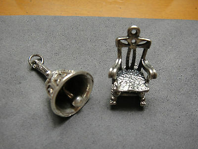 Sterling Silver Miniature Antique Handmade Working Bell And Rocking Chair