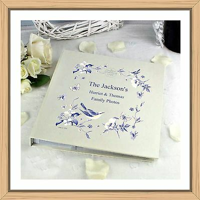 Blue Floral Family Photo Album Personalised