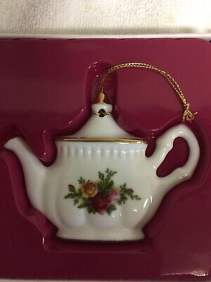 Royal Albert Vintage Fine China Christmas Ornament Teapot Old Country Roses