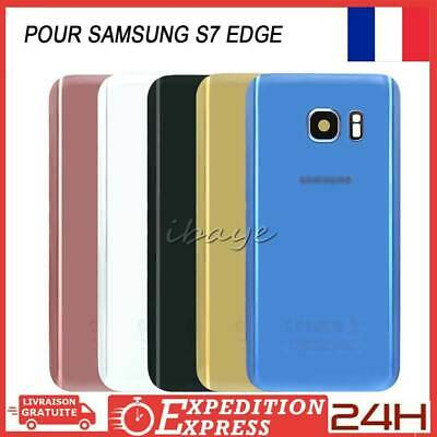 VITRE ARRIERE CACHE BATTERIE SAMSUNG GALAXY S7 EDGE+ADHESIF+LOGO+Lentille Camera