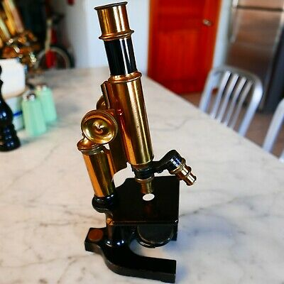 """Antique Vintage Microscope Bausch & Lomb, S/N 54906 2 Objectives 13"""" Tall"""