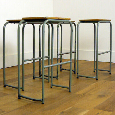 Set of 4 Vintage British 1950s Lab Science Stools by Morleys