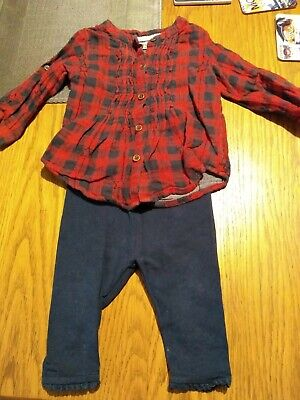 Baby Girls Next Red (Christmas) Checked Star Shirt And Blue Leggings Outfit 3-6