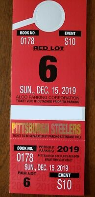 Heinz Field Red Lot 6 Parking Pass 12/15/2019 Steelers vs Buffalo Bills