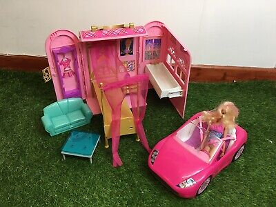 Barbie Take And Play House With Pink Convertible Car Doll And Accessories Bundle